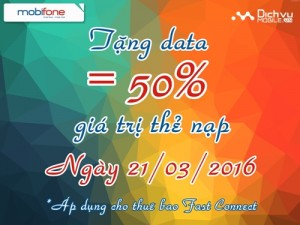 Mobifone Km 50% Fast Connect ngày 21/3